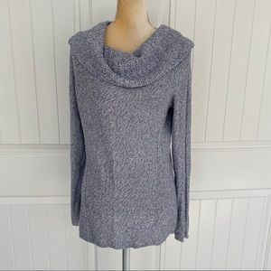 WHBM blue silver sweater tunic size large